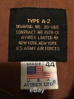Rare Avirex Type A-2 Veste En Cuir De Bombardier 44 U. Armée Air Force Made In USA