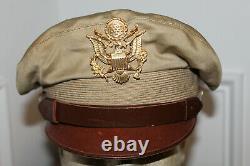 Rare Original Ww2 U.s. Army Air Forces Real Crusher Khaki Visor Cap Withshort Bill