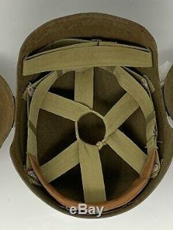 Rare Vintage Original Ww2 U. S. Army Air Forces (aaf) M5 Flak Casque Avec Doublure