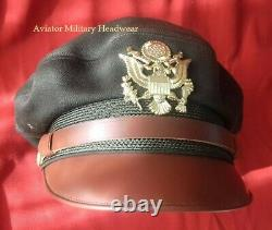 Repro Ww2 Usaaf Officier De La Force Aérienne Crusher Cap Hat Flighter Style 100% Wool Od51