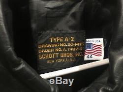 Schott 44 Men (xl) Black Bomber A-2 Armée Air Force Veste En Cuir Manteau Mint