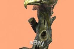 Sculpture En Bronze Statue Marbre Tête D'aigle Buste Armée Militaire Air Force Marine Co