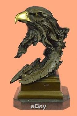 Sculpture Rare Marbre Eagle Head Buste Armée Militaire Armée De L'air Marine Colonel Gif