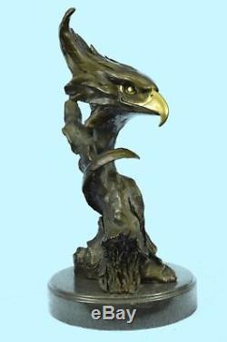 Sculpture Statue Marbre Aigle Tête Buste Militaire Armée Air Force Marine Bronze Ra