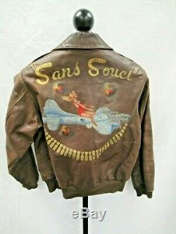 Seconde Guerre Mondiale A-2 Us Army Air Force Flight Bomber Jacket Art Painted Sans Souci Retour