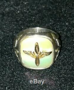 Seconde Guerre Mondiale Armée Ww2 Air Corp Pilotes De L'aviation Anneau Air Force Argent 925