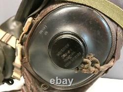 Seconde Guerre Mondiale Us Army Air Force Complete Headset Pilot Acushnet Skullcap Polaroid Anb-h-i