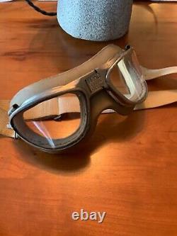 Seconde Guerre Mondiale Us Army Air Force Type A-11 Cuir Casque Volant Câblé Avecgoggles & O2 Masque
