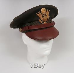 Seconde Guerre Mondiale Us Officier Visière Chapeau Robe Uniforme Combat Armée Air Force Corps Concasseur