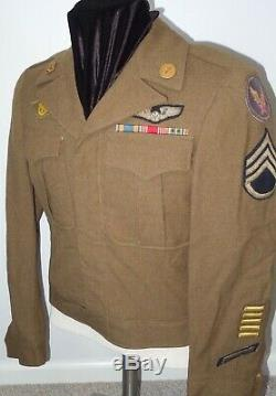 Seconde Guerre Mondiale Usaaf Armée Force Aérienne Ike Jacket Bullion Ailes Patch Loup Brown Bar Ruban