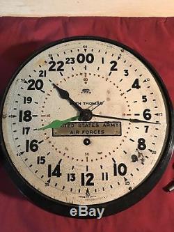 Seth Thomas Ww2 Armée De L'air Des États-unis Bakelite Military Wall Clock Cloison Fonctionne 43