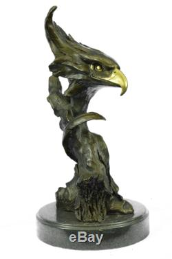 Statue De Marbre Bronze Tête D'aigle Buste Armée Militaire Air Force Marine Colonel Cadeau