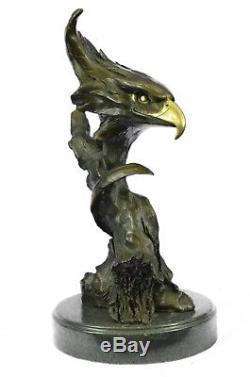 Statue De Sculpture En Bronze 15x8 Marbre Buste De Tête D'aigle Militaire Armée De L'air Mar