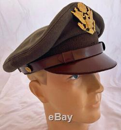 Superbe Us Ww2 Soft Bill 50 Mission Us Army Air Forces Pilote Crusher Visor Hat
