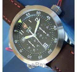 Swiss Armyrare Hommes Airboss Mach 3 Airforce 27j Chrono + Saphir + Neuf Cuir = Nice