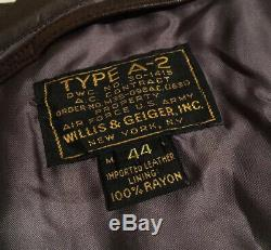 Type De Militaire A-2 Willis & Geiger Army, Air Force Flight Veste En Cuir Des Hommes De 44