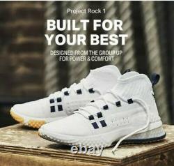 Under Armour Project Rock 1 White Gold Navy Training Shoe 3020788-108 Taille 11