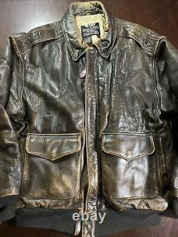 Vintage 80s 1989 Type A-2 Avirex Leather Flight Bomber Jacket Us Army Air Force