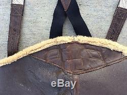 Vintage Army Air Forces Ww2 Wwii Laine Et Cuir Hommes Bibs Pantalons Medium