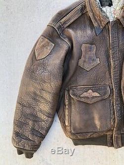 Vintage Avirex A2 A2 Correctifs Vol Taille Veste En Cuir Grande Armée Us Air Force