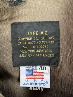 Vintage Avirex Armée Us Airforce Brown Cuir A2 Bomber Jacket Vol Sz 40 Etats-unis