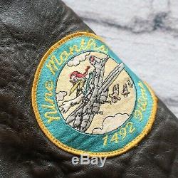 Vintage Avirex De Type A-2 Us Army Air Forces Vol 80 Veste En Cuir Taille L