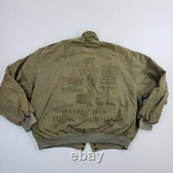 Vintage Avirex USA Army Air Forces 10th Bombardinent Peint Homme 1986 Veste L