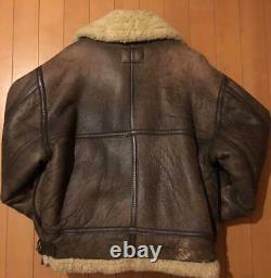 Vintage B-3 B3 Air Force Army Leather Bomber Flight Jacket M Taille USA Combat