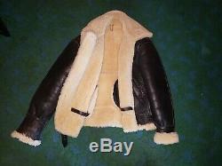 Vintage B3 B3 Air Force De L'armée Sherpa Shearling Cuir Bomber Flight Jacket USA