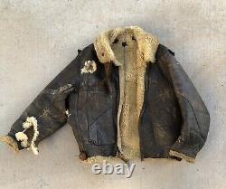 Vintage B3 Bomber Flight Cuir Shearling Jacket Armée Us Air Force Ww2 B3