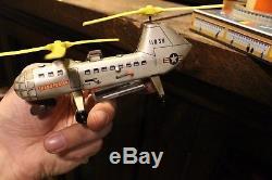 Vintage En Boîte Biller Tin Wind Up Army Us Air Force En Hélicoptère Militaire Jouet