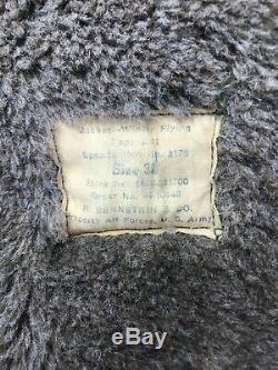Vintage Forces De L'armée De L'air Des États-unis Veste D'hiver Type De Vol B-11 Taille 36 Capot Fourrée