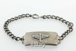 Vintage Locketag Argent Sterling Us Army Seconde Guerre Mondiale Armée De L'air Médaillon ID Bracelet- 7.5