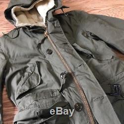 Vintage M-1947 M47 Us Army Armée Air Force Manteau Parka Manteau Veste Avec Pile Liner M