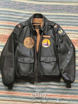 Vintage Seconde Guerre Mondiale A-2 Us Bomber Jacket Army Air Force De Lg / XL Officier Flight Pilot