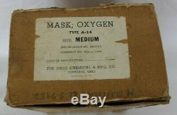 Vintage Seconde Guerre Mondiale L'armée Américaine Armée De L'air Type A-14 Masque À Oxygène Avec La Boîte D'origine