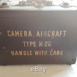 Vintage Seconde Guerre Mondiale Us Army Air Force K-20 Aircraft Camera Original Case Extras B410