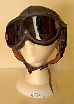 Vintage Seconde Guerre Mondiale Ww2 Us Army Air Force Pilote En Cuir Vol Casque Avec Lunettes XL