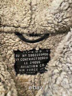 Vintage Us Army Air Force B-3 Rason Taille Cuir Veste Bomber (voir La Mesure)