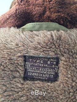 Vintage Ww2 Us Army Air B-11 Flight Jacket Parka Taille 42 Alpaca Lined