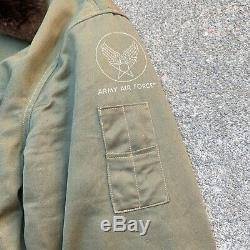 Vintage Wwii B-15 Bomber Flight Jacket Army Air Forces Rare Pocket M L Militaire