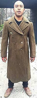 Vintage Wwii Us Wool Overcoat Military Army Air Corps Force 1942 Ww2 Uniforme 36r