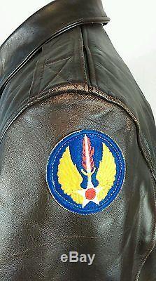 Vtg A-2 Willis Geiger Veste De Bombardière De Vol En Cuir Air Force Army A2 Taille 42