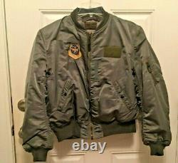 Vtg Dobbs Us Air Force Air Force Type Flying Jacket Militaire Ma-1 Armée Green Bomber