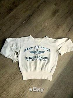 Vtg Seconde Guerre Mondiale Army Air Force Planeur École Dalhart Texas Double V Sweat Rare