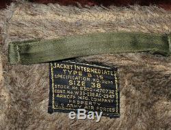 Vtg Seconde Guerre Mondiale B-15 Flight Jacket 38 Authentique Excellent Condition