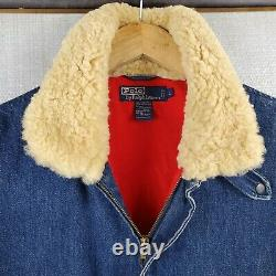 Vtg Shearling Polo Ralph Lauren Grand A-2 Bomber Flight Denim Lined Jacket Coat