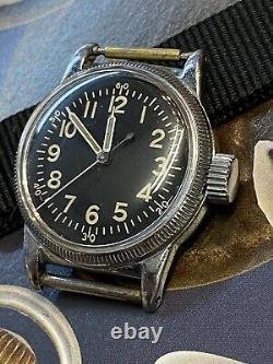 Waltham Elgin Militaire A-11 De L'armée Américaine Air Force Ww2 Années 1940 Bord De Pièces De Montre Vintage