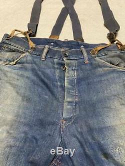 Ward Vintage 1930 Montgomery Denim Pantalon De Travail Avec L'us Army Air Force Jarretelle