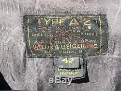 Willis & Geiger Type A-2 Armée De L'air Des États-unis En Cuir Vol Bomber Jacket Taille 42
